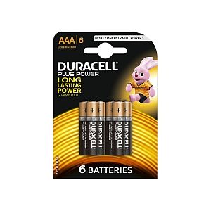 Duracell Pack 6 piles Alacaline Plus Power AAA (LR03)
