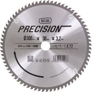 SCID Lame pour machines stationnaires - Epaisseur 3,2 mm - 72 dents - Diamètre 300 mm - Alésage 30 mm