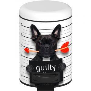 Wenko 22736100 Poubelle à pédale Guilty Dog 3 Litres Acier 17 x 25 x 22,5 cm