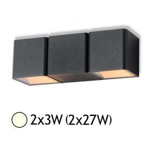Vision-El Applique murale double LED 2x3W (2x27W) IP54 Blanc jour 4000°K Cube Anthr