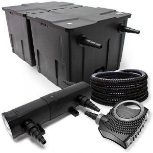 wiltec Kit de Filtration avec Bio Filtre 60000l, 36W UV Stérilisateur, Pompe, 25m Tuyau