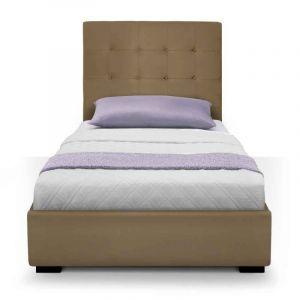 Declikdeco Lit coffre avec tête de lit capitonnée taupe 90x190cm SOLTA