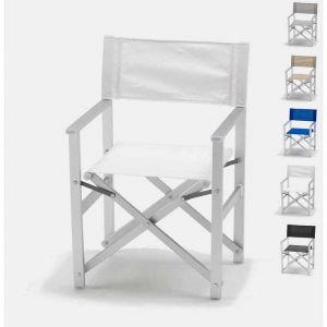 Beach and Garden Design Chaise transat style réalisateur de plage pliante aluminium textilene LUSSO | Blanc