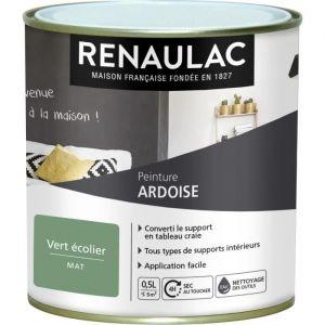 Renaulac Peinture décorative effet Ardoise Vert écolier - Mat - 5m² / pôt