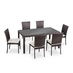 Alice's Garden Table de jardin Bergamo en résine tressée avec 6 chaises