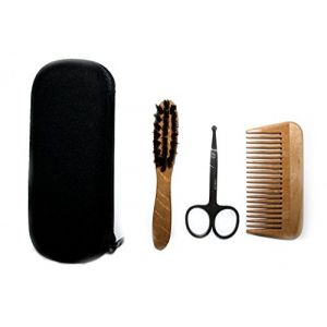 Bilson Set de soin de barbe 3 pièces (ciseaux, peigne et brosse)