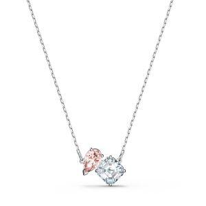Swarovski Collier 5517115 - Collier métal rhodié blanc pendentif rose et cristal Femme
