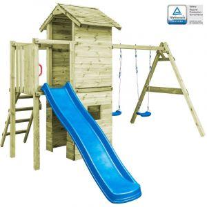 VidaXL Aire de jeu avec échelle, toboggan et balançoires Bois FSC
