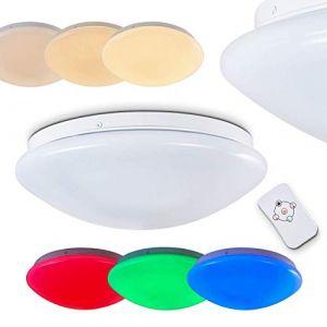 Hofstein Plafonnier LED Brighton à couleurs variables - Spot de plafond rond avec télécommande - plafonnier avec LED RGB intégrées - 850 lumens -12 watts - 3000K- Tamisable - veilleuse
