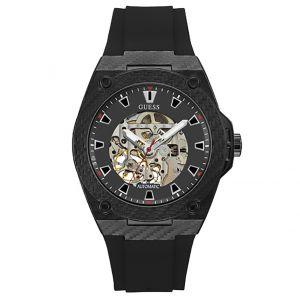 Guess Montre LEGACY W1247G1 - Montre Automatique Bracelet Silicone Noir Homme