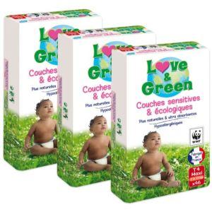 Love & Green Couches écologiques taille 4 Maxi 7-14 kg - paquet de 138