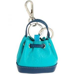 Dudu Porte-clés Porte-monnaie à Sac seau en Cuir coloré avec Coulisse 2 anneaux et Crochet pour les clés Bleu