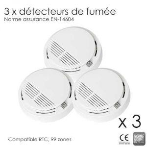 3 détecteurs de fumée compatibles alarme RTC et 99 zones (Norme EN-14604)