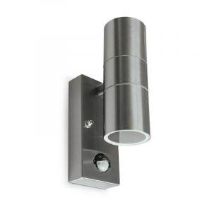 Vision-El Applique murale IP54 Inox 304 double éclairage (max 2xGU10 7W led) + Détect