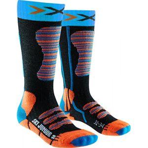 X-Socks Junior Chaussette de Ski pour Enfant, Enfant, Ski Junior, Turquoise/Orange