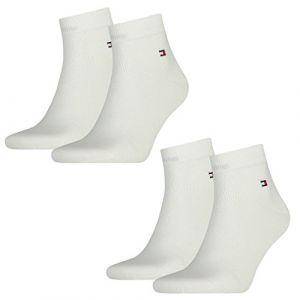 Tommy Hilfiger Homme Drapeau Vêtements De Travail Chaussettes De Quart 4 Lot - blanc-300, 43/46