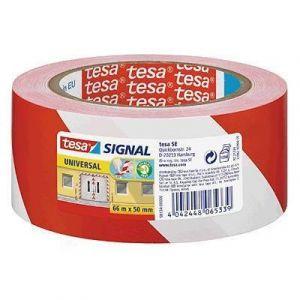 Tesa Ruban adhésif de signalisation Rouge/Blanc