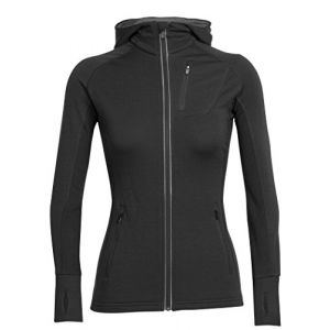 Icebreaker Wmns Quantum LS Zip Hood Veste à Capuche Femme Black/Black/Black FR : S (Taille Fabricant : S)