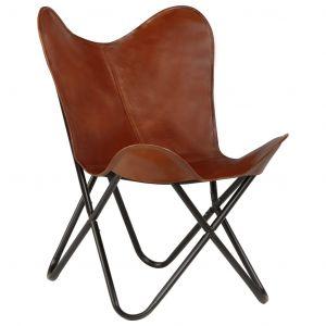 VidaXL Chaise forme de papillon Cuir véritable Marron Taille d'enfant