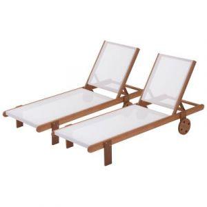 Viva Green Lot de 2 bains de soleil en bois exotique Saïgon - Maple - Marron clair