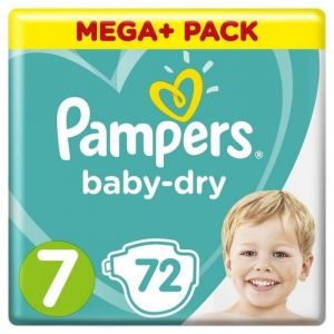 Pampers Baby-Dry Taille 7, 15+ kg, 72 Couches - Mega Pack - Les couches Baby-Dry avec des canaux d'air uniques pour une peau bien au sec qui respire toute la nuit