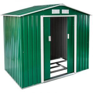 TecTake Abri Maison Cabane de Jardin de Rangement en Métal 2,7 m² Toiture 2 Pans Vert
