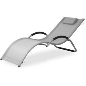 Concept-Usine Canarie : transat gris en aluminium et textilène
