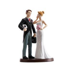 """Figurine couple de mariés """"Footballeur"""" (18 cm)"""