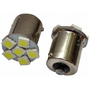 Image de Aerzetix : 2x Ampoule 24v P21w R10w R5w 6led Smd Blanc Pour Camion Semi-Remorque Porte De Garage Portail - Neuf