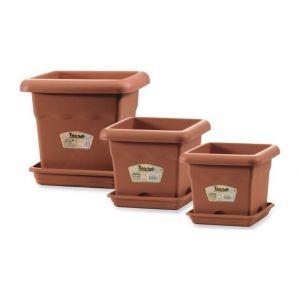 Pot de fleurs carré 33x33cm - Terracota - En plastique - Forme: carrée - Contenance: 14l