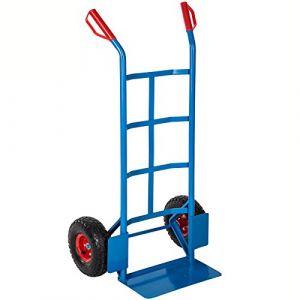 TecTake Chariot, Diable de Manutention de Transport à 2 Roues Gonflables Capacité 200 kg en Acier 119 cm x 55 cm x 44 cm Bleu