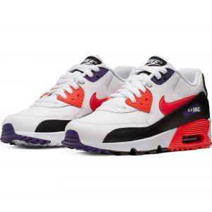 Nike Air Max 90 LTR (GS), Chaussures de Running garçon, Blanc (White/BRT Crimson/Black/Court Purple 117), 38 1/2 EU