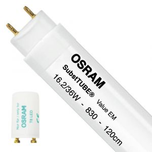 Ledvance Osram SubstiTUBE Value EM 16.2 830 120cm | Blanc Chaud - Starter LED incl. - Substitut 36W
