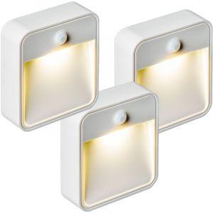 TecTake Lampe LED, Lampe murale, Lampe Présence, Veilleuse, Sans Fil, avec capteur détecteur de mouvement LED Par 3