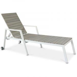 Bain de soleil aluminium et polywood Blanc - BOUTIQUE JARDIN