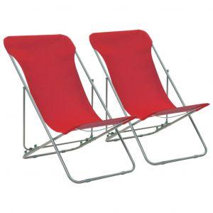 VidaXL Chaise de plage pliable 2 pcs Rouge Acier et tissu oxford