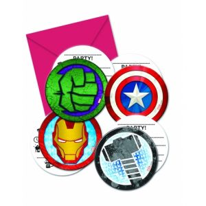 6 invitations et enveloppes Avengers Mighty