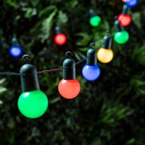 Lights4Fun Guirlande Lumineuse Guinguette avec 20 Boules LED Multicolores pour Intérieur / Extérieur de
