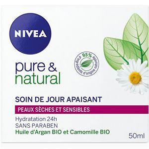 Nivea Pure & Natural - Soin de jour apaisant pour peaux sèches et sensibles