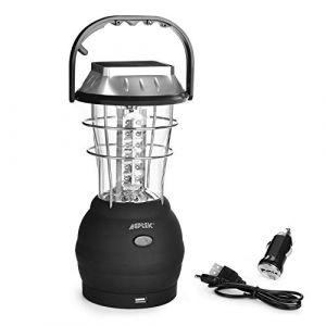 AGPtek Lanterne solaire 36 led lampe rechargeable portable lanterne lumineux avec dynamo à manivelle lumière d'urgence pour camping, pêche