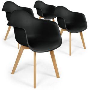 Declikdeco Lot de 4 chaises scandinaves design Prado Noir