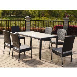 Table de jardin Denver en résine tressée avec 6 chaises