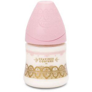 Suavinex Biberon Premium couture 150 ml, conception ethnique dans des tons roses avec tétine ronde de débit lent fabriquée en silicone, à partir de 0 mois.