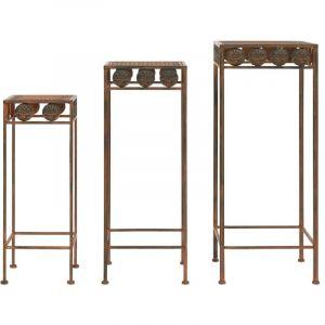 VidaXL Set de supports de plantes 3 pcs Style vintage Métal rouillé