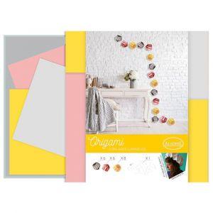 Aladine Kit Origami - Guirlande lumineuse romantique - Rose, Grise, Jaune
