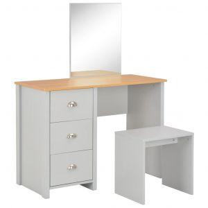 VidaXL Coiffeuse avec miroir et tabouret Gris 104 x 45 x 131 cm