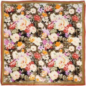 Allée du foulard Carré de soie Premium Floral sur marron