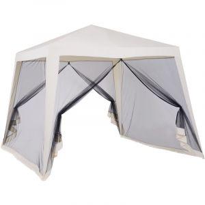 Outsunny Tonnelle barnum style colonial dim. 3L x 3l x 2,35H m 4 moustiquaires 2 zippée beige noir