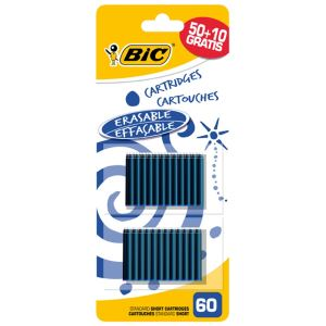 Bic 60 cartouches courtes d'encre bleue avec 10 gratuites