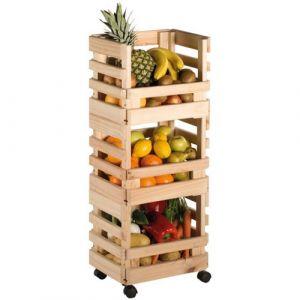 Astigarraga Resserre a légumes 3 paniers pin massif - bois brut - Garde-manger, Resserre légume